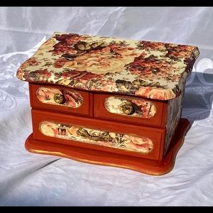 Storage & Organization - Cute Floral Vintage Wooden Jewelry Box